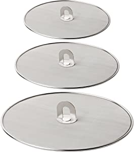 Homestia Grease Splatter Screen for Frying Pan with Fold Flat Knob Fine Mesh Guard Shield and Catcher Set Of 3 in 10