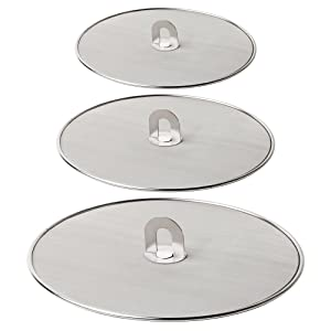 "Homestia Grease Splatter Screen for Frying Pan Fine Mesh Stops Stove Oil Guard Skillet Lid Heavy Duty 10""+11.5""+13"""