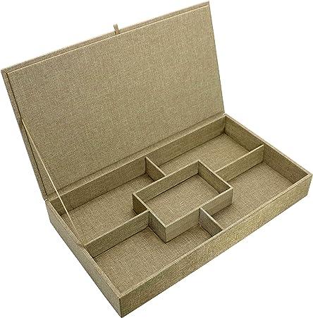 Por Savvy Grande luz marrón tejido de harina de avena con tapa caja para joyas y almacenamiento apilable: Amazon.es: Hogar
