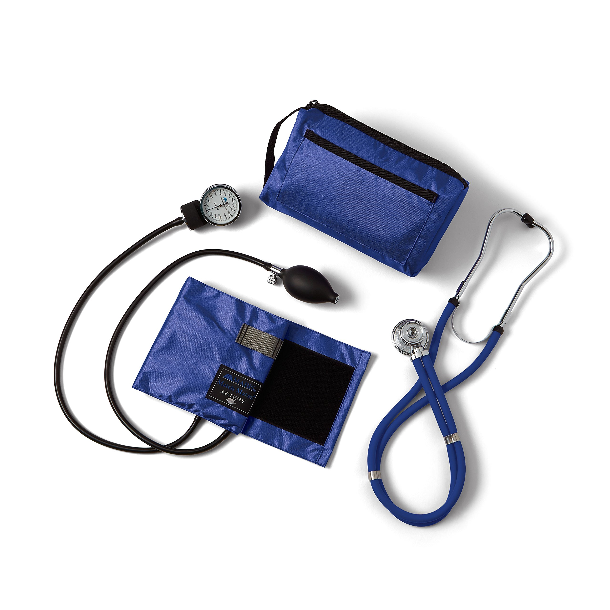 Medline Compli-Mates Aneroid Sphygmomanometer and Sprague Rappaport Stethoscope Kit, Carrying Case, Adult Blood Pressure Cuff, Manual, Professional, Royal Blue