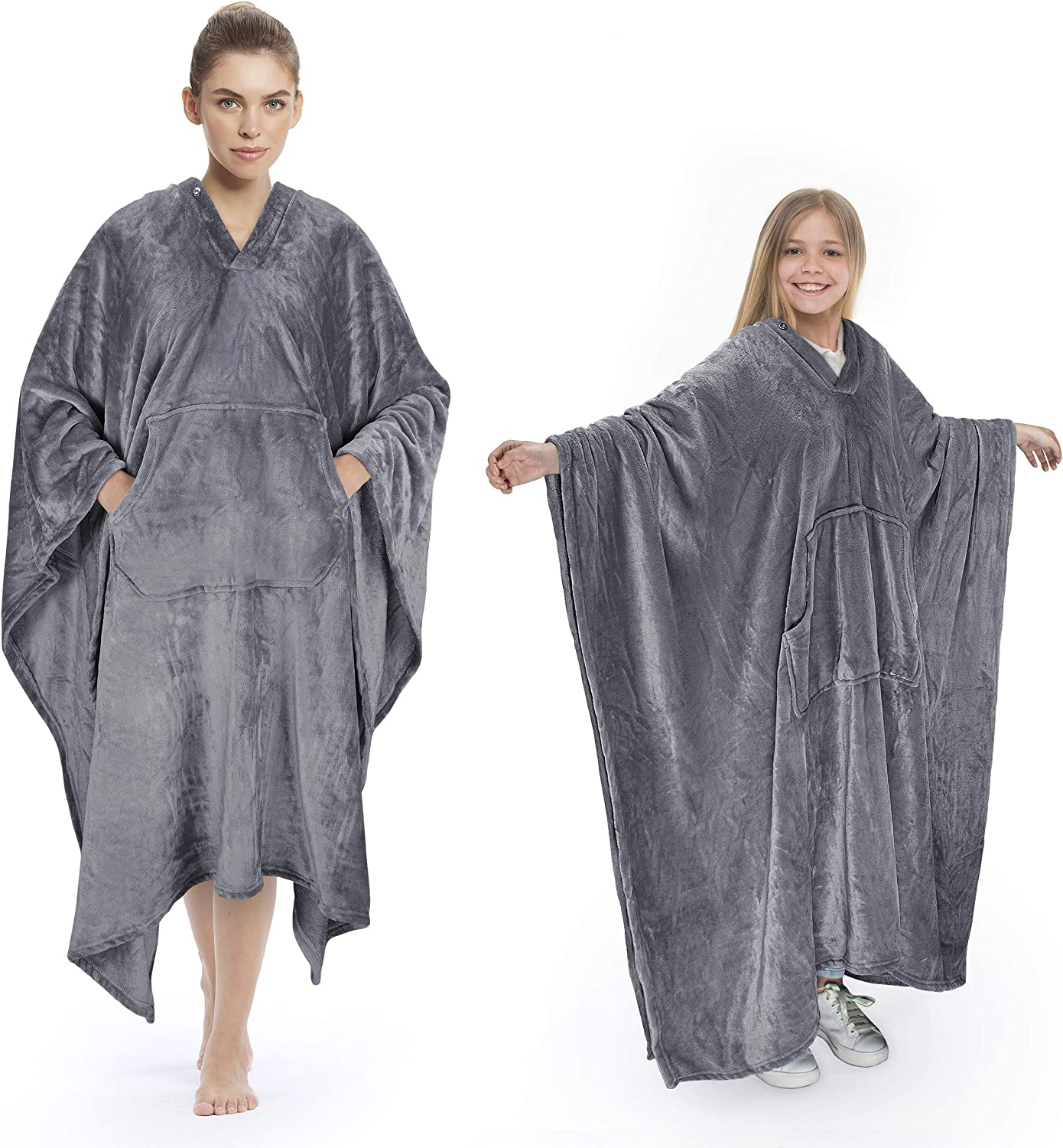 Tirrinia Poncho Blanket Comfy Plush Fleece Wearable Blanket for Adult