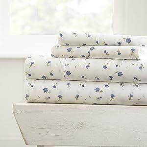 ienjoy Home 4 Piece Sheet Set Patterned, Full, Soft Floral Light Blue