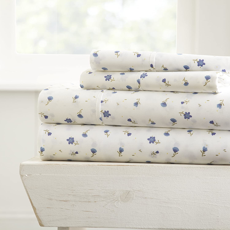 ienjoy Home 4 Piece Sheet Set Patterned, Queen, Soft Floral Light Blue