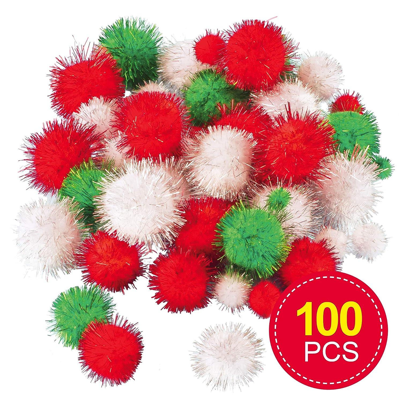 Baker Ross Para decorar manualidades infantiles Pack de 100 Pompones con purpurina