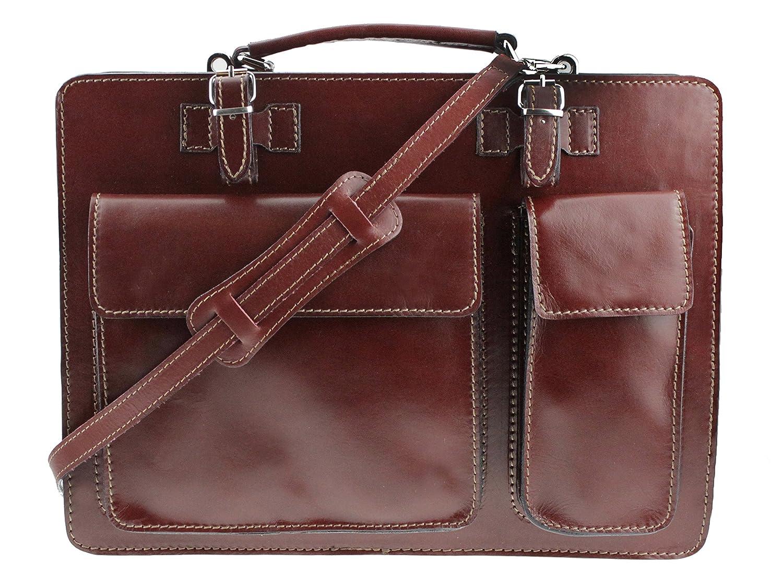 Aktentasche Lehrertasche Crown in diversen Farben | Echtes Leder Made in Italy | Umhängetasche (B40xH30xT10) 10002407