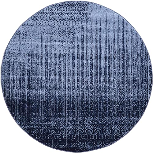 Unique Loom Del Mar Collection Contemporary Transitional Blue Round Rug 6 0 x 6 0