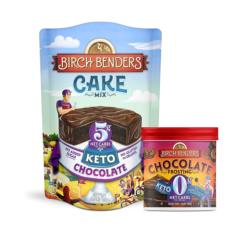 Birch Benders Keto Chocolate Cake Mix,10.9oz and Keto Chocolate Frosting, 10oz, Bundle (1 baking mix and 1 frosting)