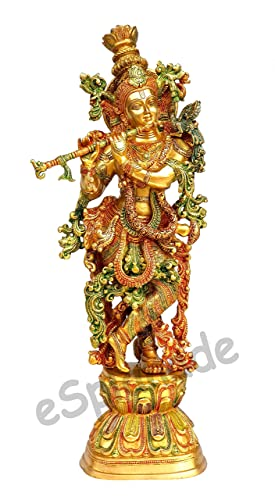 eSplanade – 29 Brass Murli Krishna Statue – VERY BIG SIZE – Brass Krishna Idol Murti Statue Sculpture 29