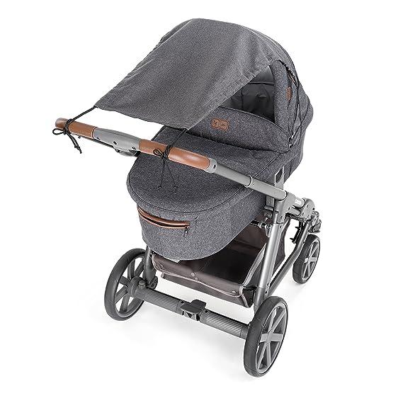 ... Toldo DELUXE / Protección solar universal para cochecitos, capazos y sillas de paseo | Parasol ajustable con protección UV 50+ - Gris: Amazon.es: Bebé