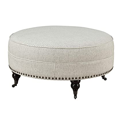 Astounding Carthage Round Ottoman In Gray Ivory Stripe With Turned Feet Nailhead Trim And Seam Welting By Artum Hill Ibusinesslaw Wood Chair Design Ideas Ibusinesslaworg