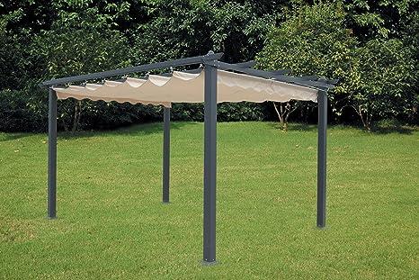 Pérgola de aluminio con toldo retráctil de300 x 400 cm.