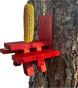 Squirrel Feeder for Outside – Red Picnic Table – Large Size – Squirrel Picnic Table Feeder – Squirrel Corn Cob Holder – Squirrel Food Bench Feeding – Made in USA