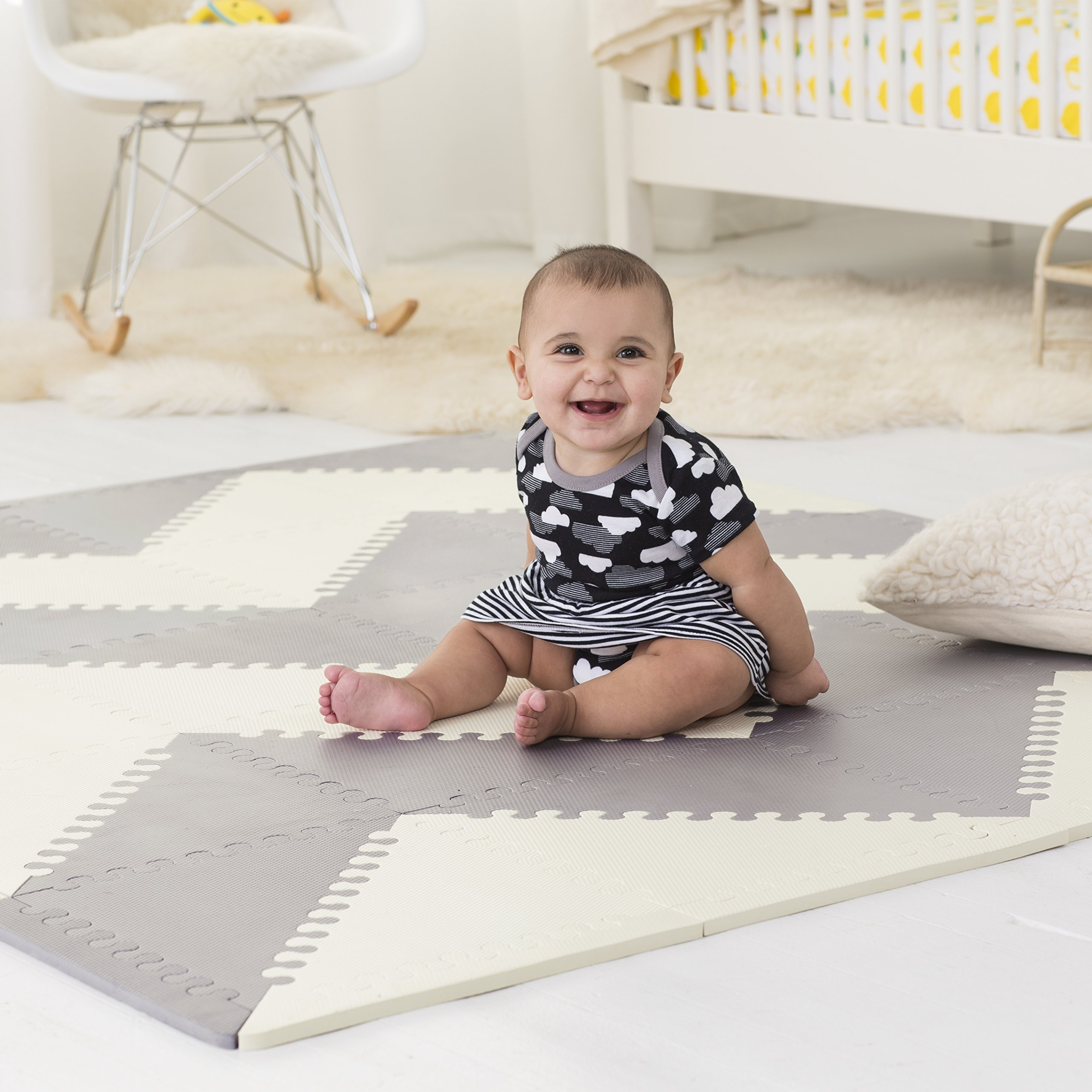 Skip Hop Playspot Waterproof Foam Baby Play Mat, Grey/Cream, 70'' X 56''