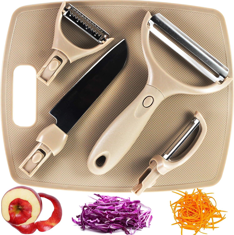 Julienne Vegetable Peeler Set of 4 in 1 with Bonus Cutting Board- Stainless Steel Ultra Sharp Blade, Comfort Handle, Dishwasher Safe- Potato, Carrot, Apple, Cabbage Peeler for Kitchen- Multifunctional