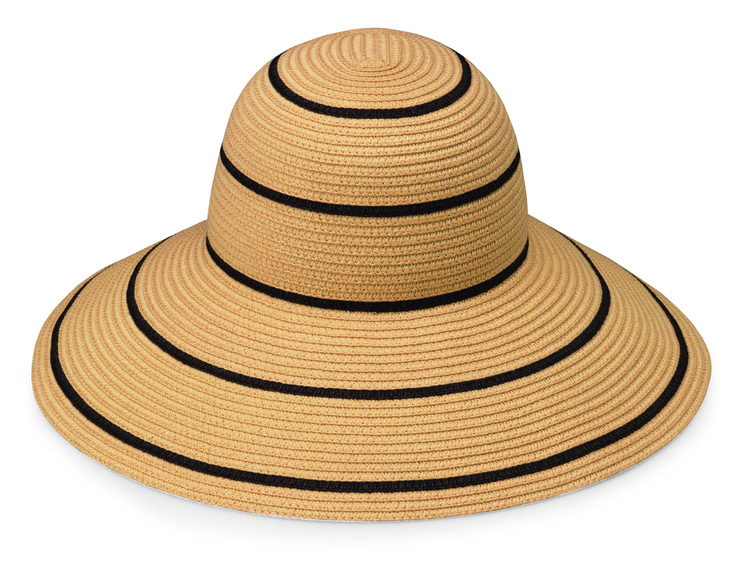 Wallaroo Hat Company Women's Savannah Sun Hat - Camel/Black Stripes - UPF 50+