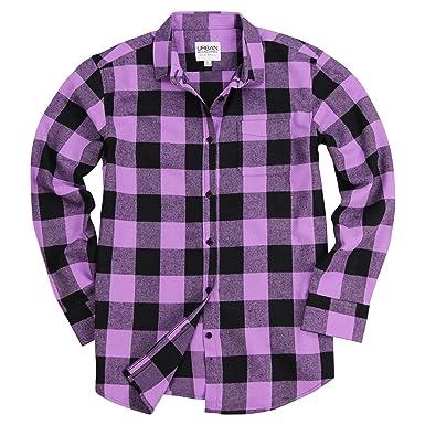 dc5dc58666d3b8 Urban Boundaries Women's Long Sleeve Flannel Shirt w/Point Collar (Purple/ Black,