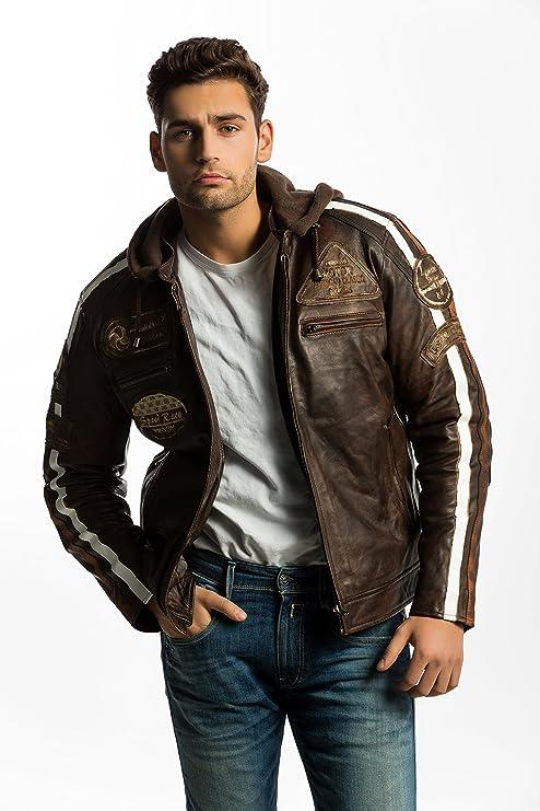 Urban Leather UR-20 Chaqueta de Caballero, Ontorio Marrón, Talla XL