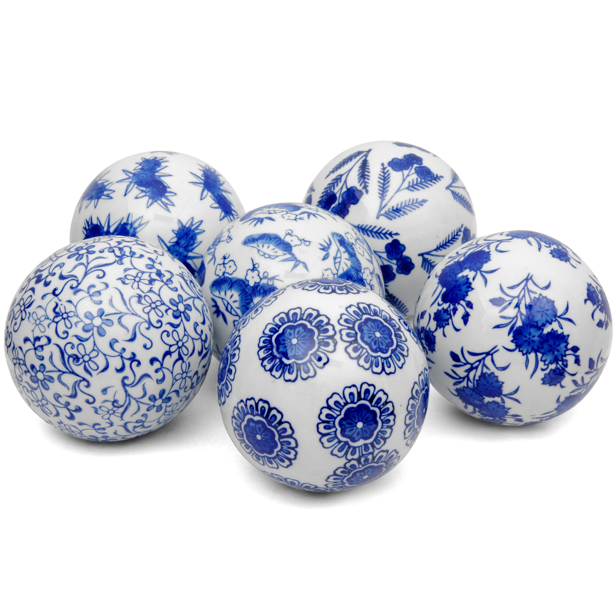 Oriental Furniture 4'' Blue & White Decorative Porcelain Ball Set(B) by ORIENTAL Furniture