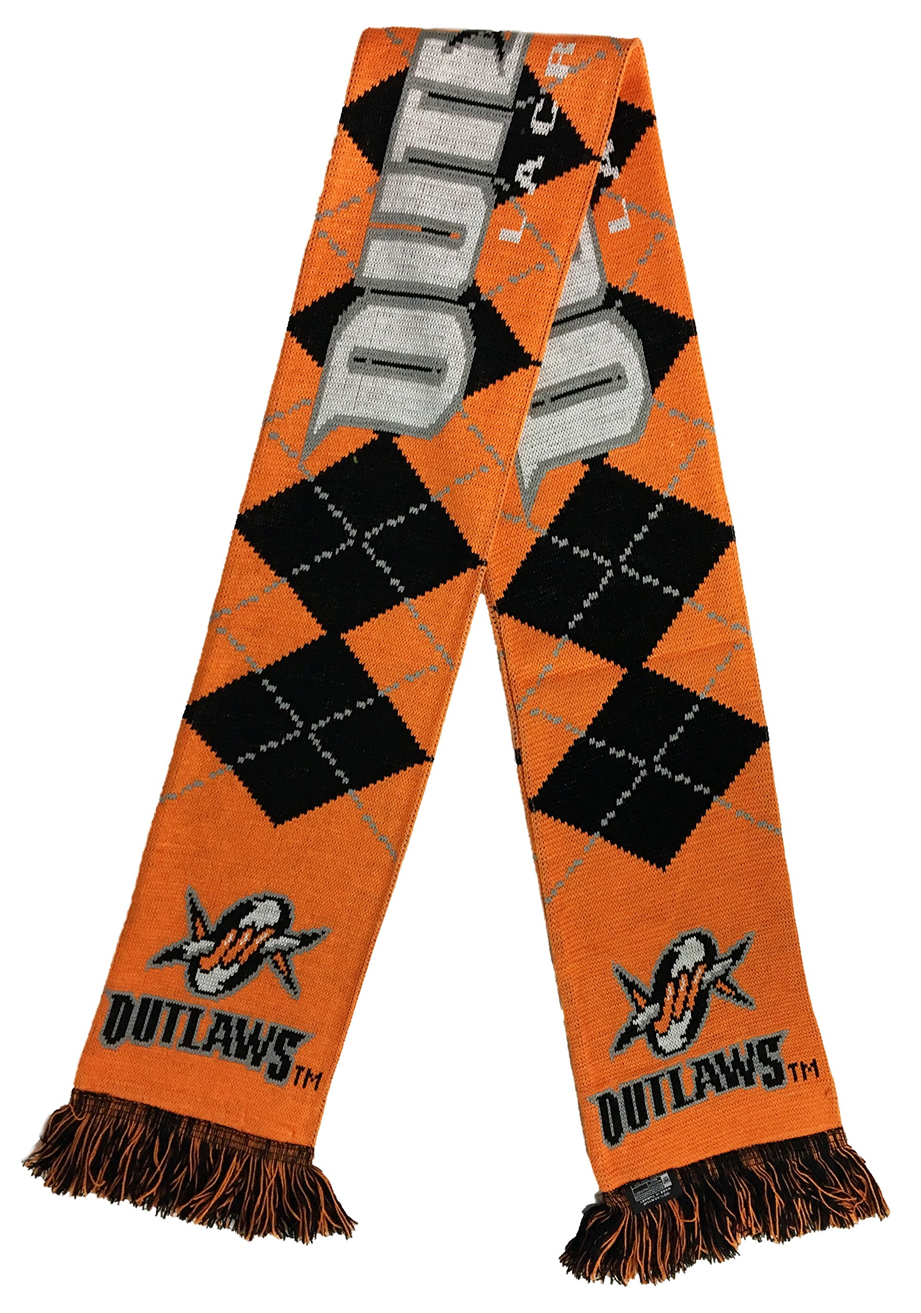 Major League Lacrosse Denver Outlaws Argyle Scarf, One Size, Orange