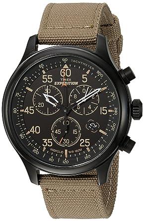 99935b747de Timex Men s TW4B10200 Expedition Field Chrono Tan Black Canvas Strap Watch