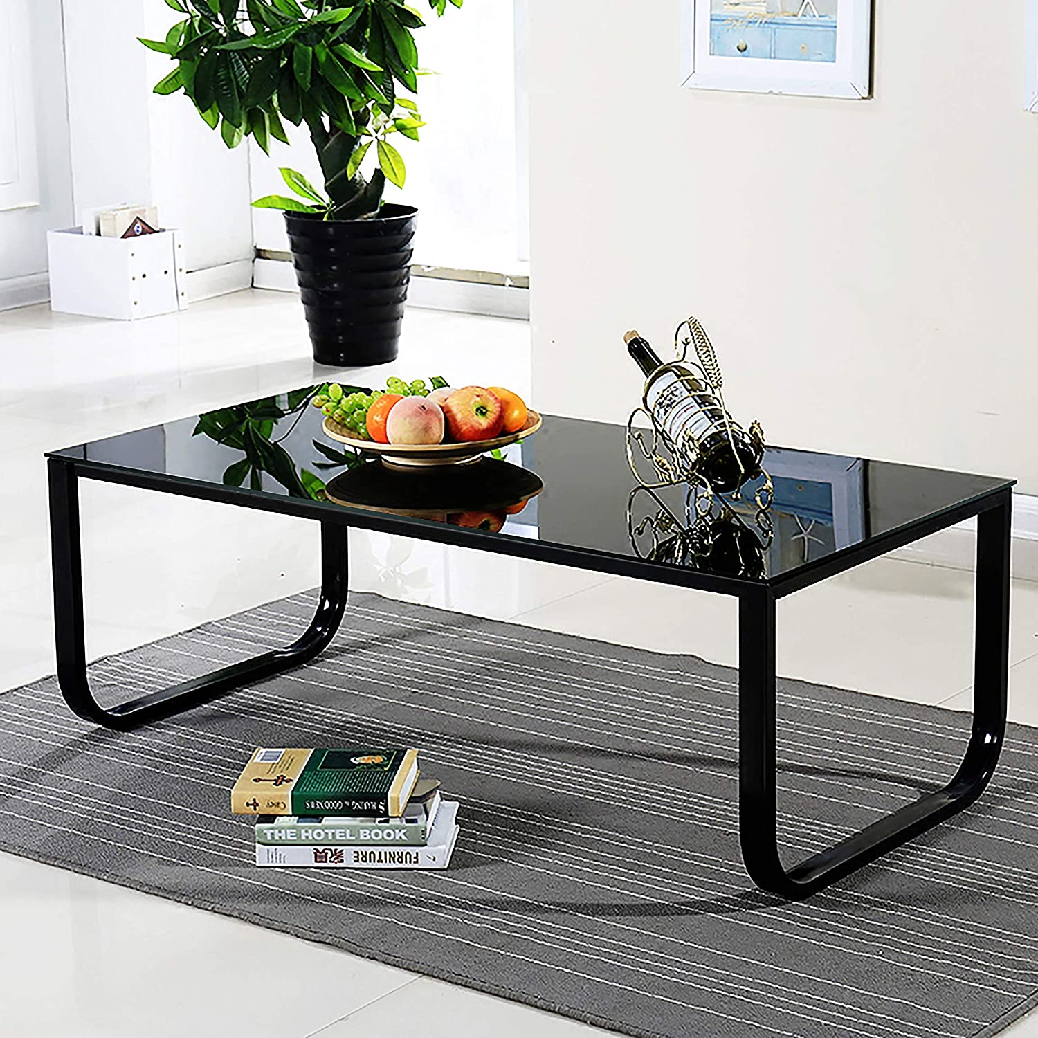 Ofcasa Black Glass Coffee Table End Side Table With Metal Legs Living Room Bedroom Tables With Storage Amazon Co Uk Kitchen Home