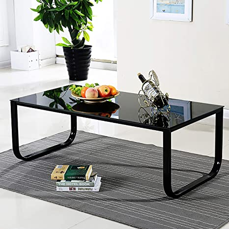best loved 6008b f1d7a OFCASA Black Glass Coffee Table End Side Table with Metal Legs Living Room  Bedroom Tables with Storage