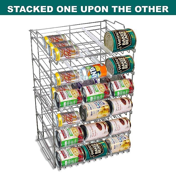 BELLE VOUS Dispensador de Latas de 3 Niveles - Capacidad para 36 Latas - Soporte Apilable para Latas en la Cocina, Despensa o Alacena - para Alimentos y ...