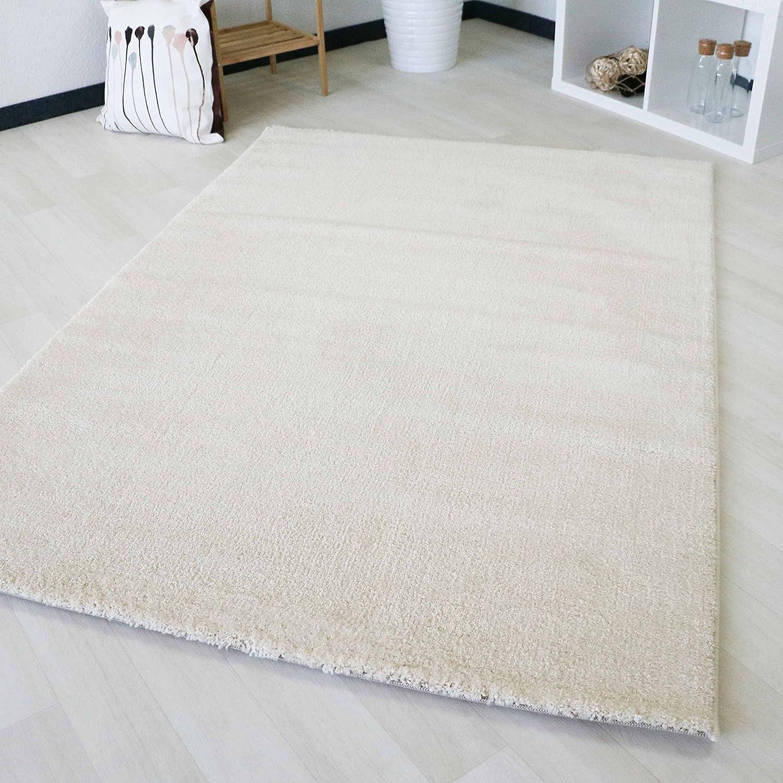 Kurzflor Teppich Creme Wohnzimmer Jugendzimmer einfarbig Soma Designer Weiß Modern (120 x 170 cm)