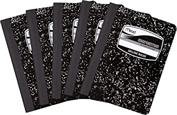 Mead Square - Notebook, 100hojas, College Ruled, Black, 5 Pack