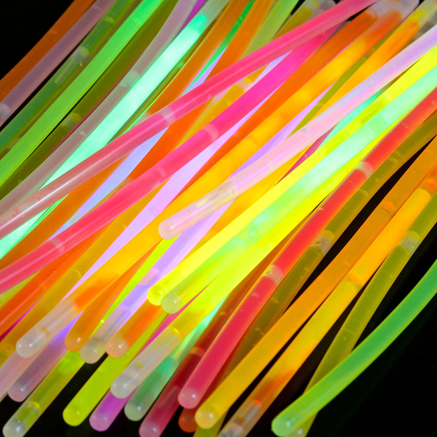 Multi Colour Generic V/_GS-Mix 8 Inch Sticks Packs Bracelets Necklaces Neon Light Fluorescent 50 Pieces Glow-in-The-Dark Fun Party Accessory