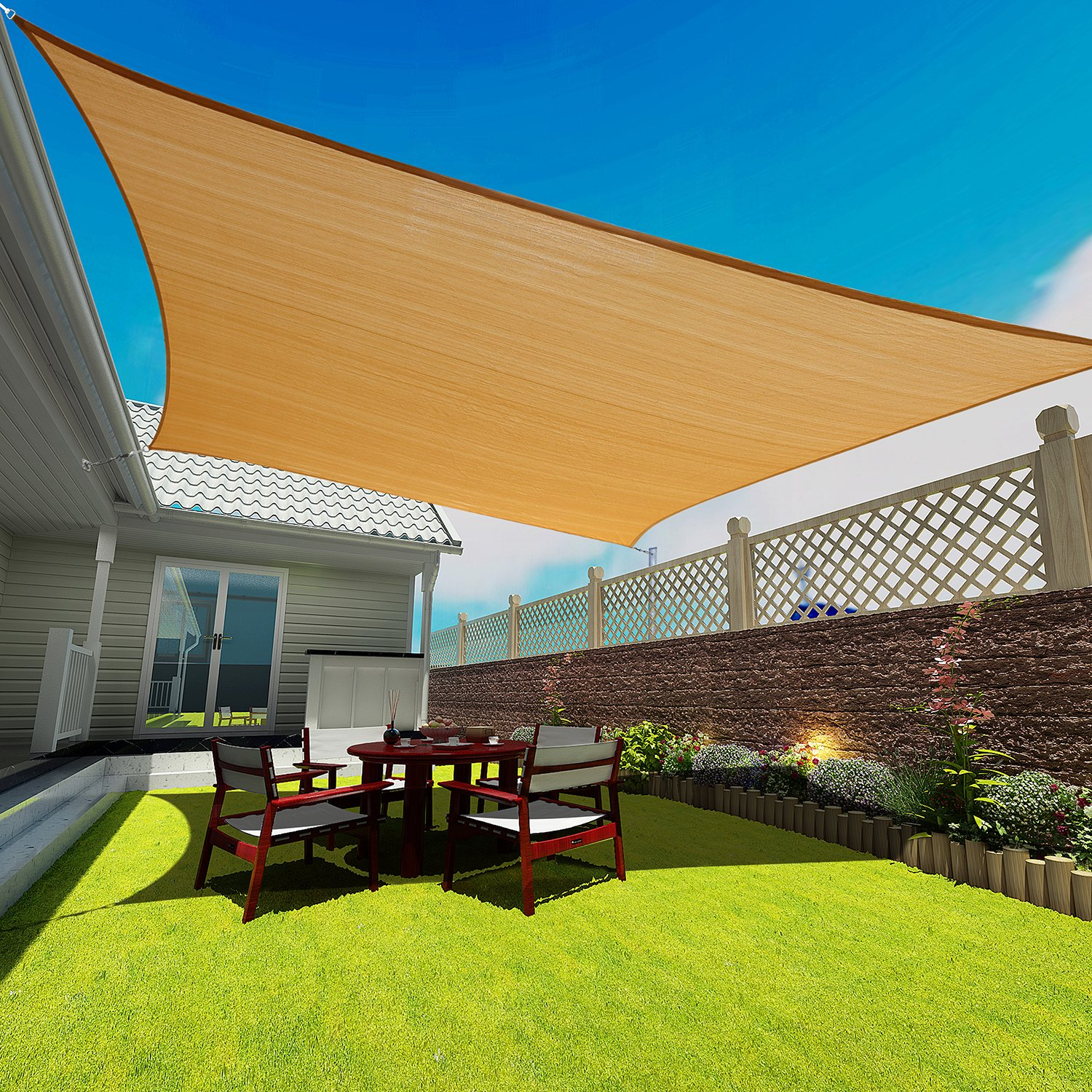 Coconut Rectangle Sun Shade Sail 16 X 20 Ft UV Block Sunshade Canopy Awning Cover for Outdoor Patio Deck Garden Lawn Yard (Sand Color), 16' x 20' by Coconut (Image #1)