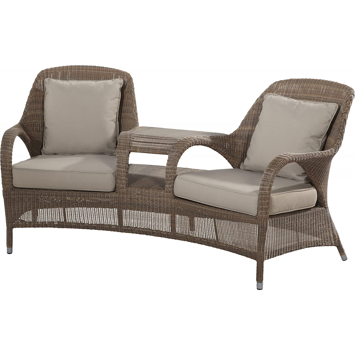 4Seasons Outdoor Sussex Love Seat Polyloom taupe inkl 4 Kissen 212396