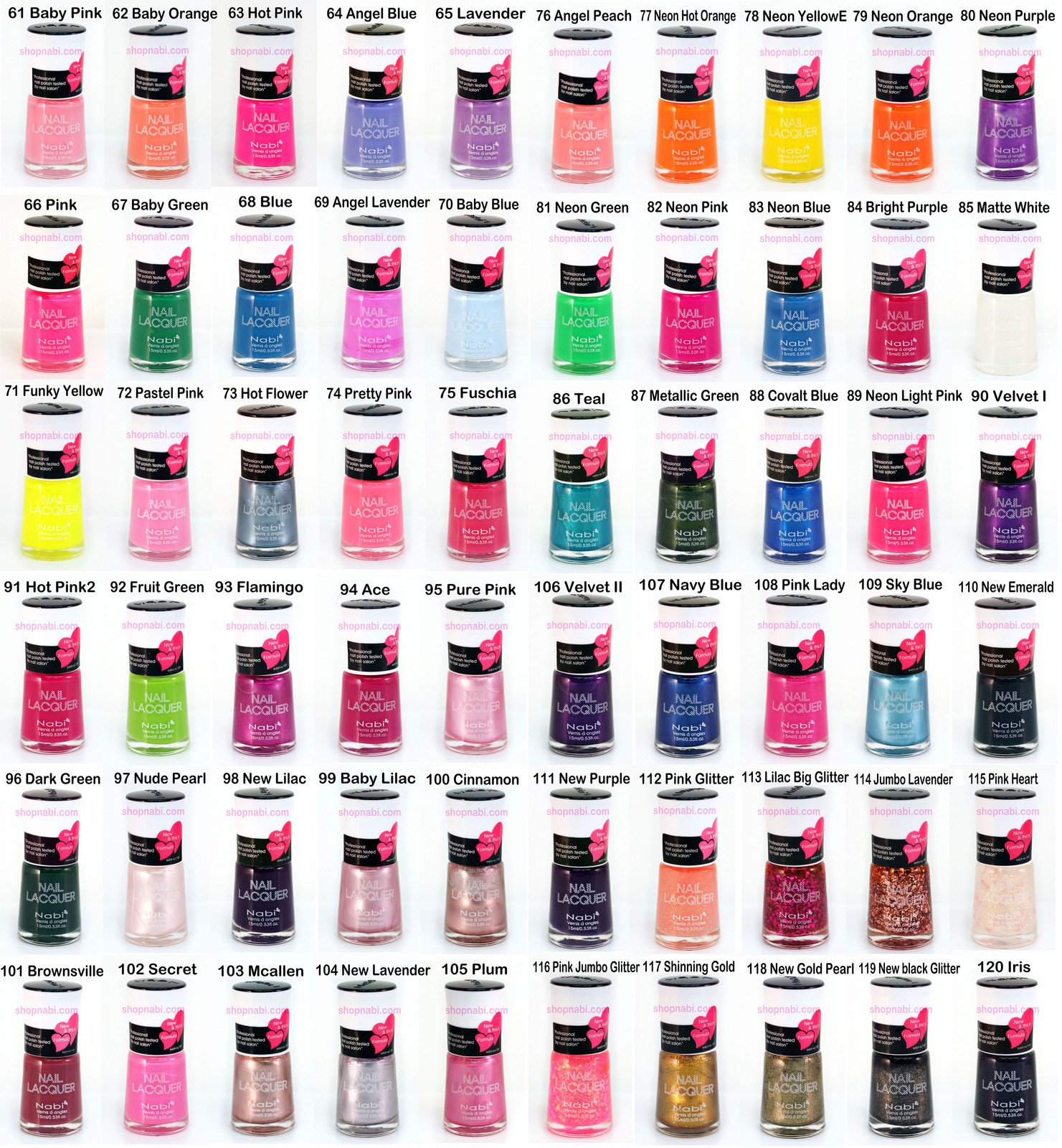 144pcs Nail Manicure Nabi Nail Polish (Wholesale Lot)