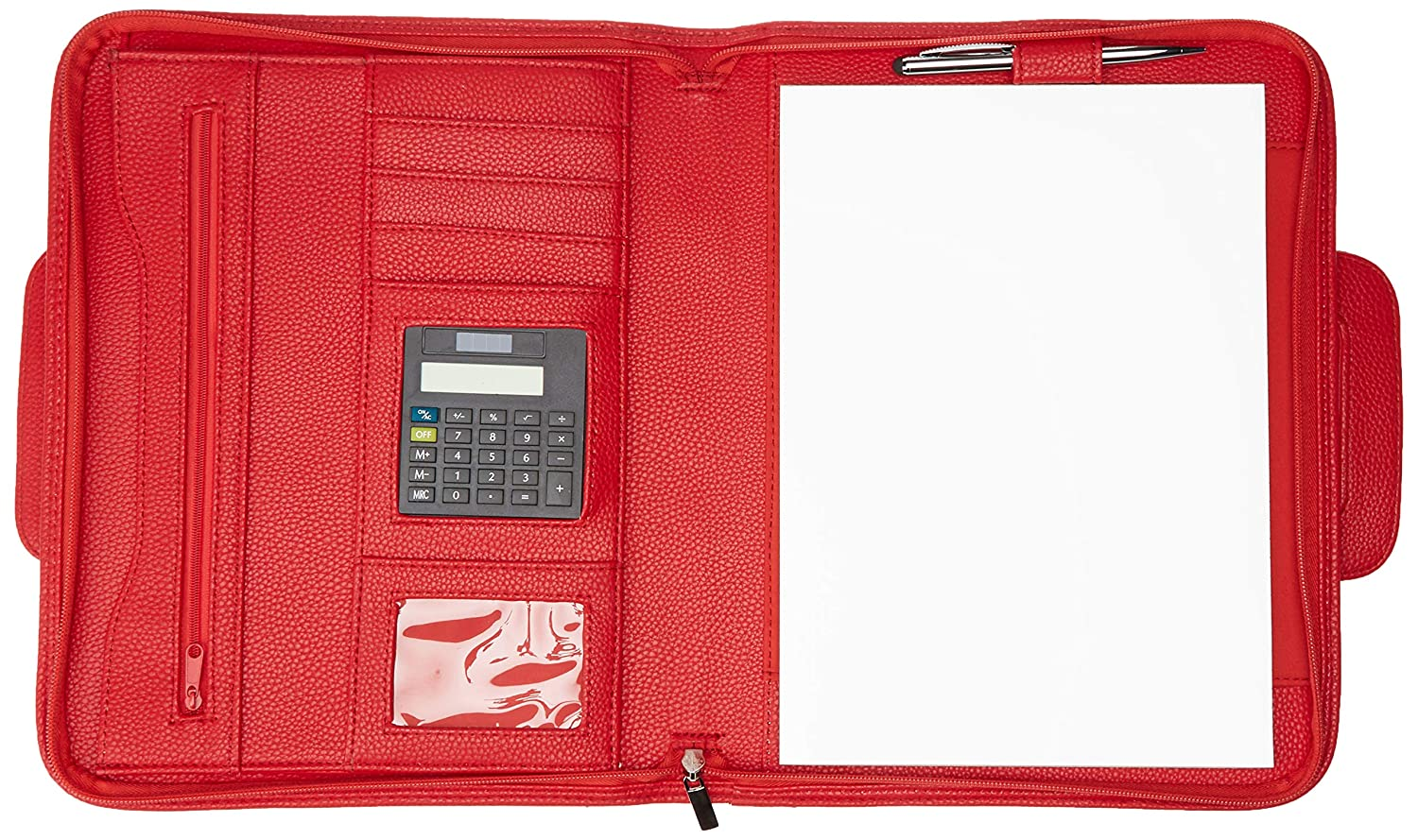 Editions Oberthur 425125.0/Brisbane A4/Zip Conference Folder with Retractable Handles Red