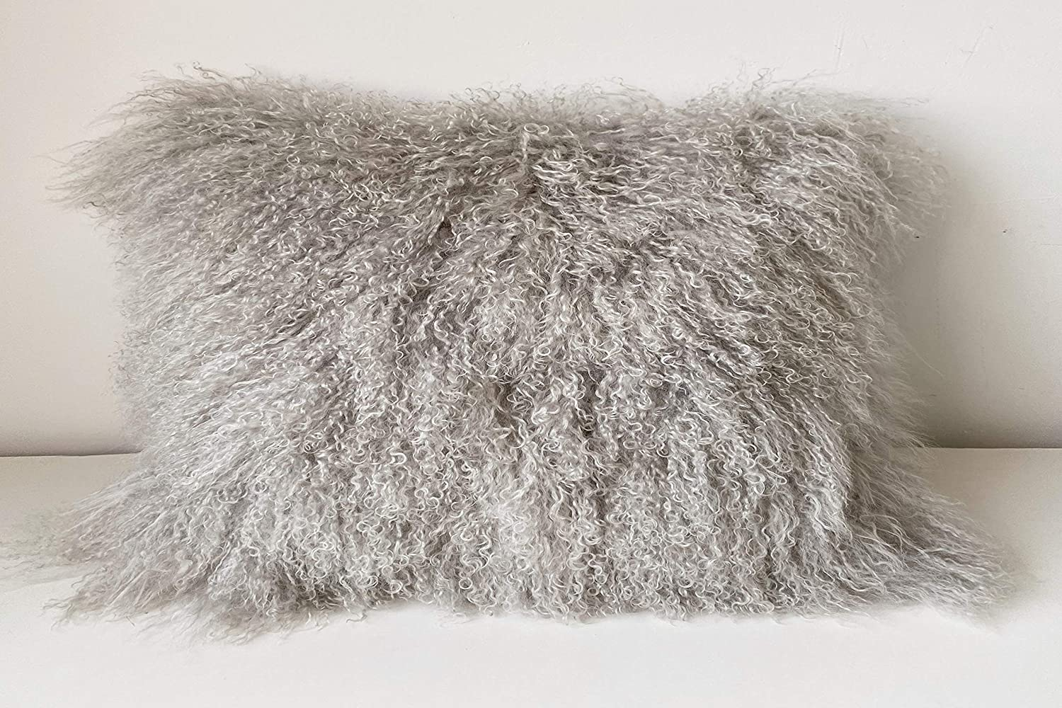 KumiQ 100% Real Mongolian Lamb Fur Curly Wool Pillow Cushion,Home Decorative Sheepskin Throw Pillow with Insert Included,12x20in,Light Gray