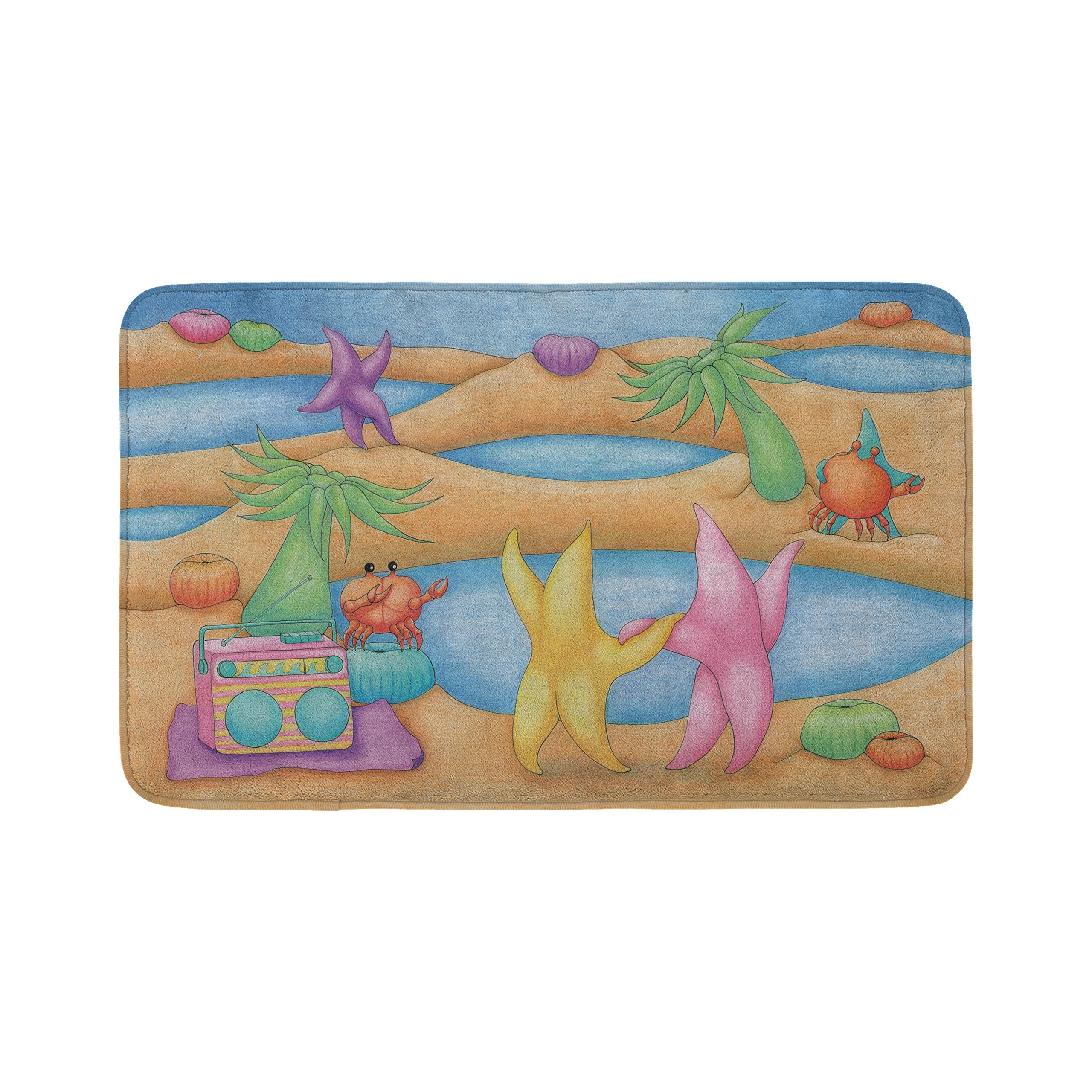 Mouse + Magpie Bath Mat for Kids, Skid-Proof, Memory Foam, Soft, Quick-Dry Microfiber, 31''x19'' for Toddler, Kid, Child Bathroom, Dancing on the Beach