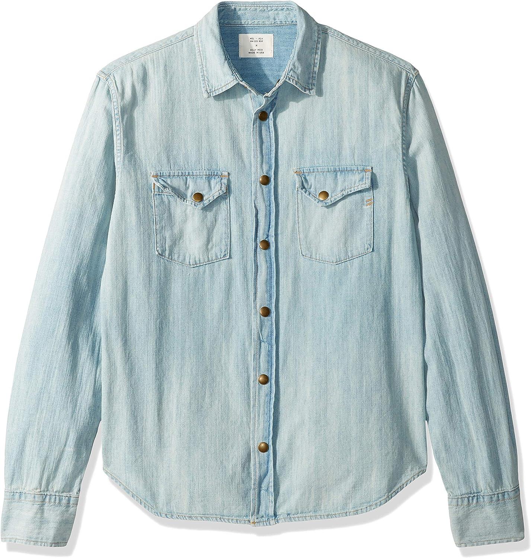 Esast Mens Fashion Standard Barstow Denim Western Snap-Up Shirt