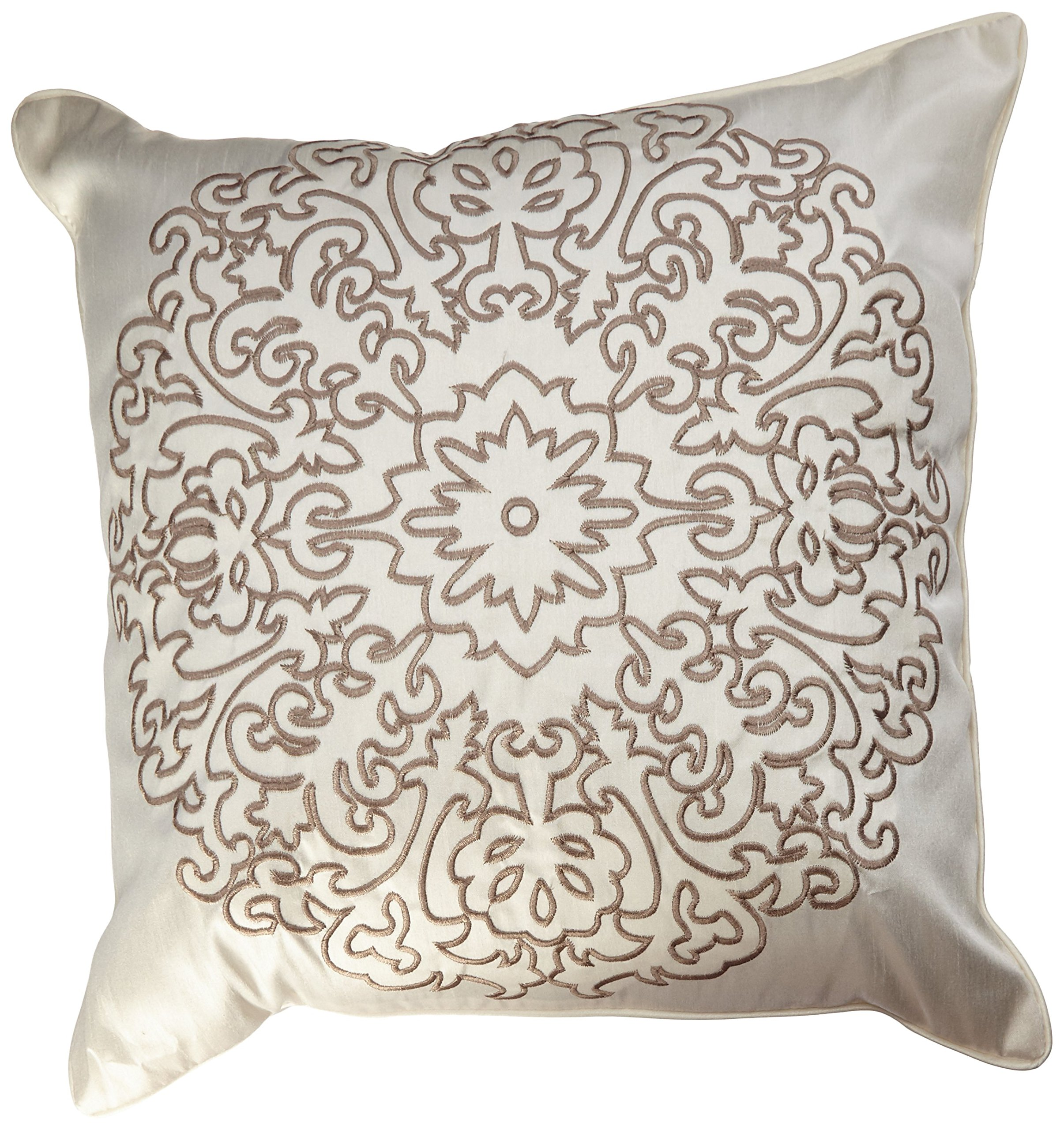 Stone Cottage Medallion Embroidered Decorative Pillow, 18-Inch - Decorative pillow is 18 inches Pillow features embroidery details Pillow has polyester filling - living-room-soft-furnishings, living-room, decorative-pillows - 9114IZ0hCOL -