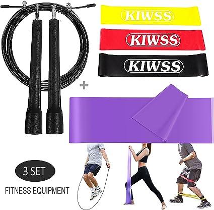 Bandas de resistencia + cuerda de saltar + Fitness ejercicio banda – Equipo de entrenamiento accesorios Bundle