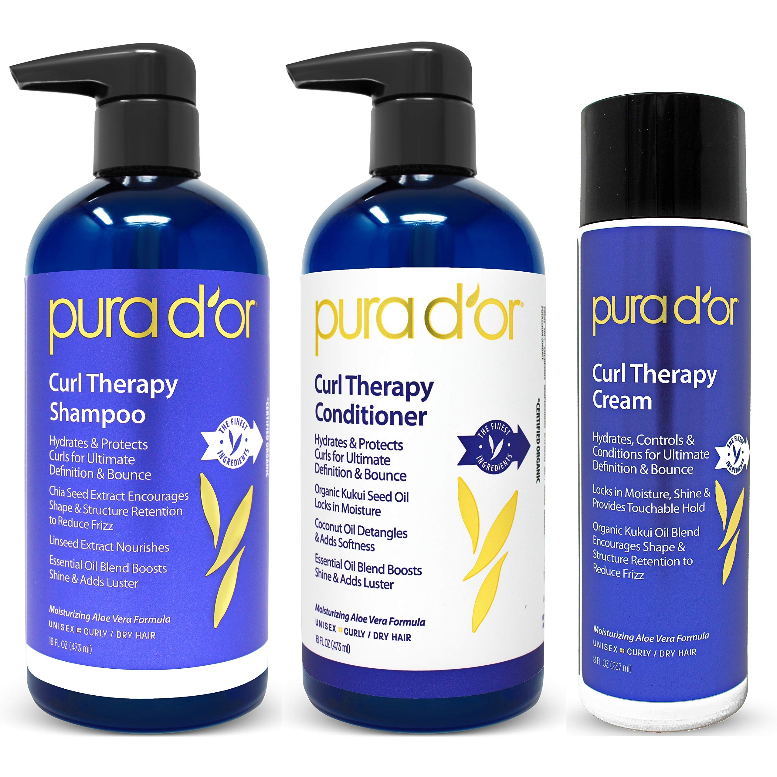 PURA D'OR Curl Therapy Shampoo, Conditioner, and Styling Cream 3-Piece Set - For Styling Natural and Treated Curls, Gentle Sulfate Free with Natural Ingredients, Men & Women (Packaging may vary) by PURA D'OR