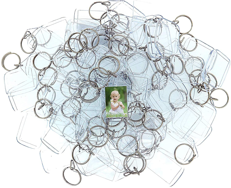 Kurtzy Llaveros de Fotos de Acrilico (50 Piezas) - 3,2 x 5,4cm Llavero en Blanco - Transparente Insertar Fotos Llaveros - plástico Fotos Personalizadas Llavero - Apto para Hombres y Mujeres