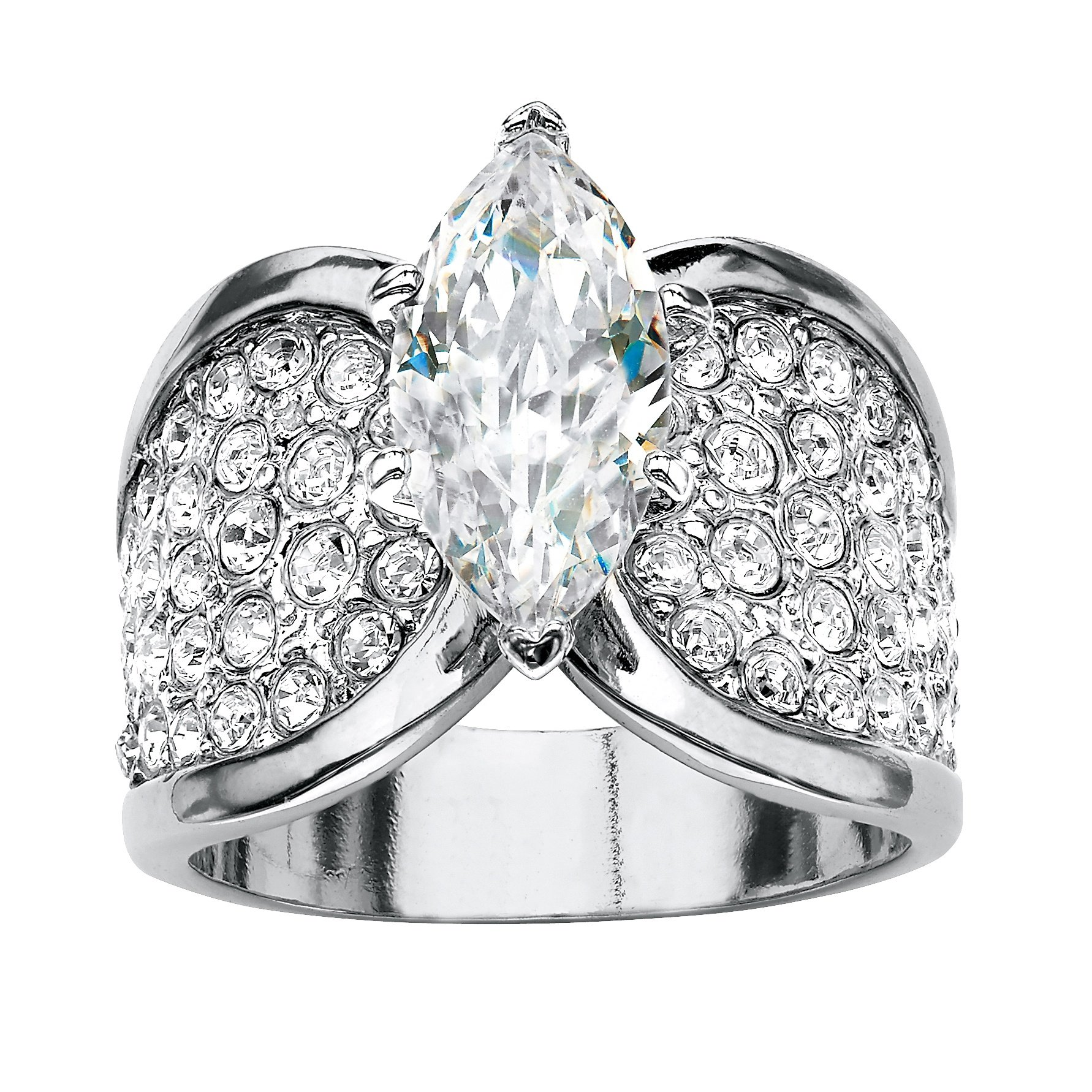 Marquise-Cut and Pave White Cubic Zirconia Platinum-Plated Engagement Ring Size 8