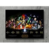 """Star Wars Poster - SAGA THE FORCE AWAKENS Movie Canvas Print Revenge Sith Wall Art Posters Print Standard Size 18""""x24"""" Inches"""