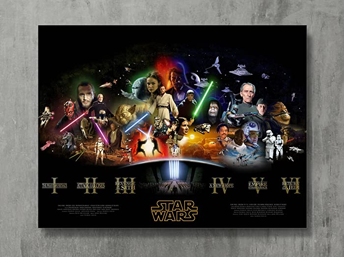 "Star Wars Poster - SAGA THE FORCE AWAKENS Movie Canvas Print Revenge Sith Wall Art Posters Print Standard Size 18""x24"" Inches"