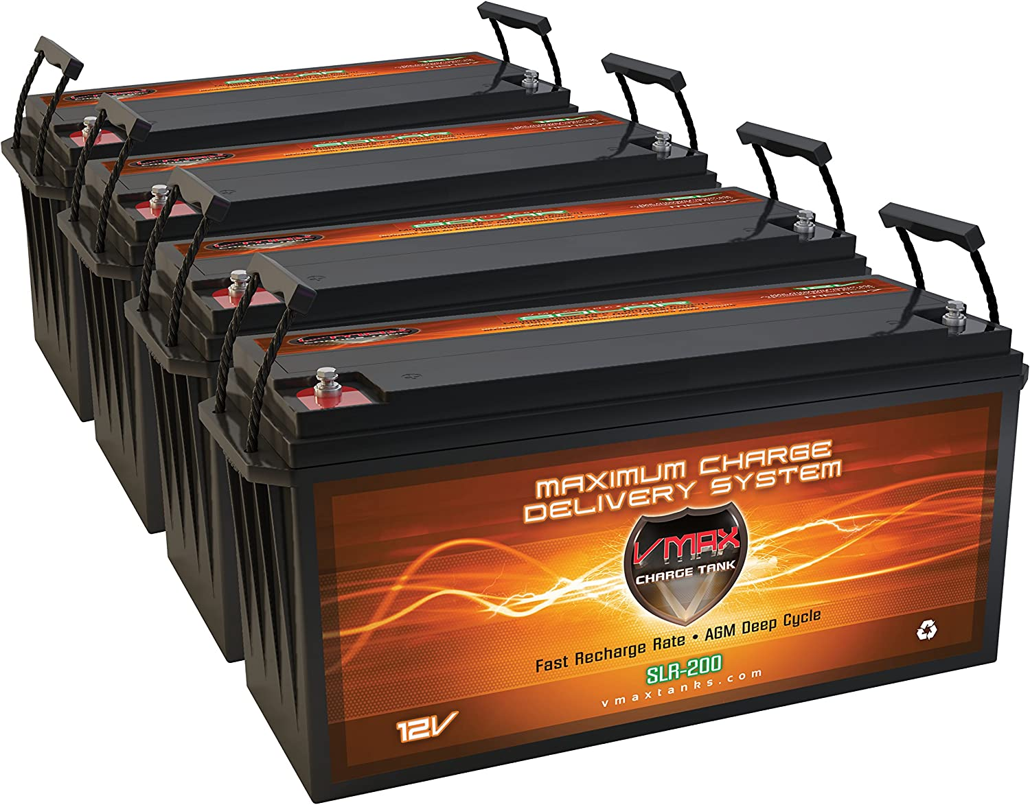 QTY 4 Vmaxtanks Vmax SLR200 12 Volt 200Ah AGM Battery Solar Batteries for Use with PV Solar Panels Wind Turbine Electric power backup generator for Off Grid or Grid Tie