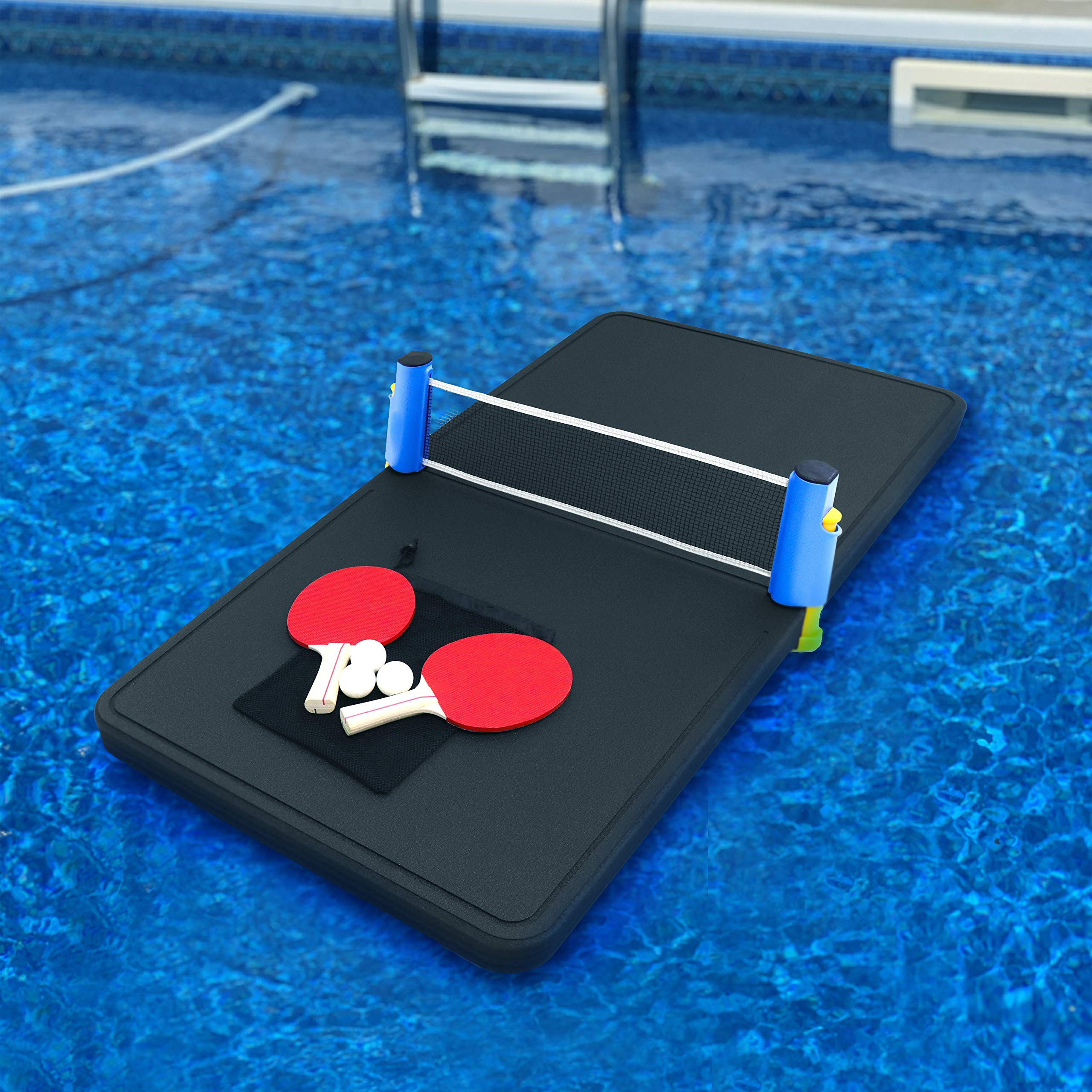 Polar Whale Floating Ping Pong Table Pool Party Table Tennis Float Game Durable Black Foam 4 Feet Long Uv Resistant Includes Net Paddles and Balls Made in USA by Polar Whale