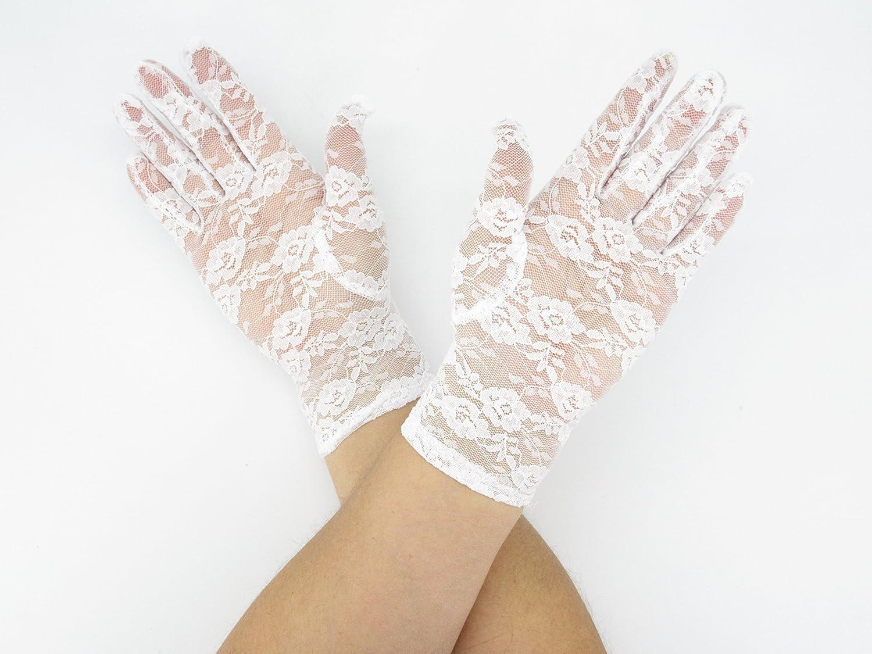Floral Lace Short Elegant Bridal Party Dress Gloves