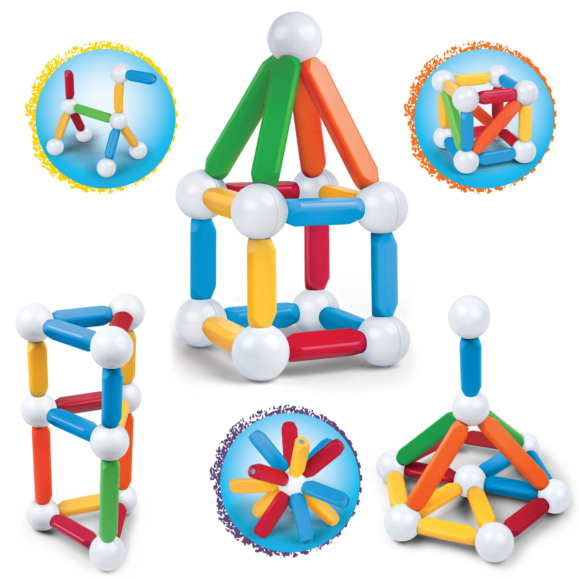 Discovery Kids 25 Piece Magnetic Blocks, Colorful Building Block Set for Boys/Girls, Best 3D Educational Creativity, STEM Toys for Children – Red, Green, Blue, Yellow, White