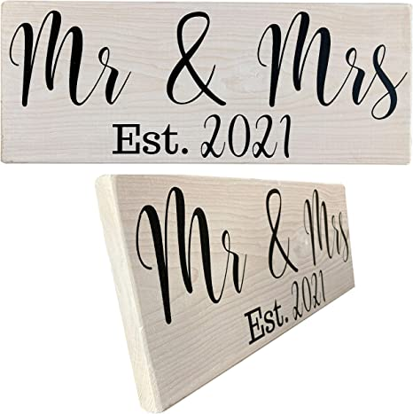 Mr And Mrs Signs 2021 Wedding Gifts His Hers Couples Bridal Shower Gift Engagement Present Mr And Mrs 2021 White Amazon Ca Home Kitchen