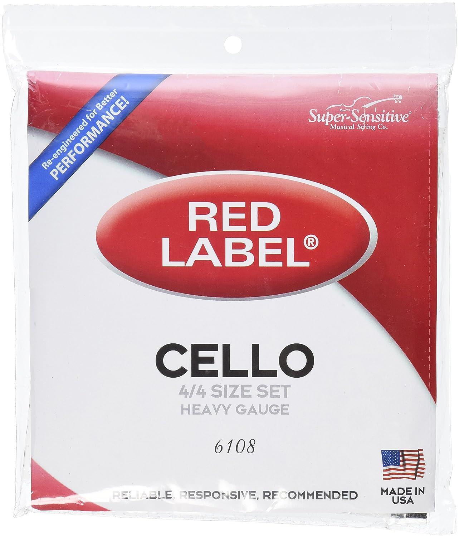 Super Sensitive 6108 Red Label Cello String Set - A, D, G, C - Nickel - 4/4 - Orchestra Gauge